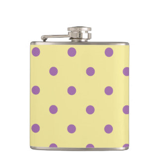 elegant purple yellow polka dots hip flask