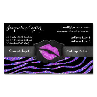 Elegant Purple Zebra Glitter Kiss Cosmetologist Magnetic Business Card