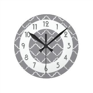 Elegant Quatrefoil Pattern - Gray White Round Clock