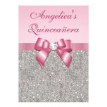 Elegant Quinceañera Faux Silver Sequins Pink Bow Personalised Invites