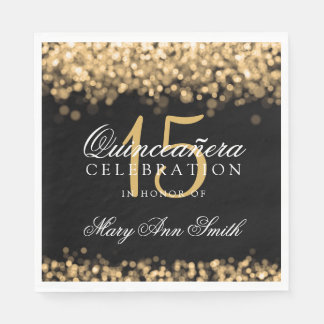 Elegant Quinceanera Party Gold Lights Disposable Napkin