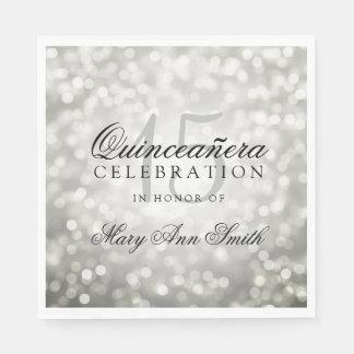 Elegant Quinceanera Party Silver Bokeh Lights Disposable Serviette