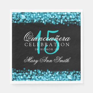 Elegant Quinceanera Party Sparkles Turquoise Disposable Serviette