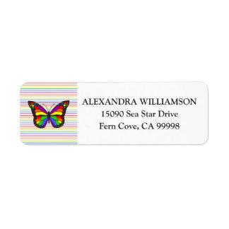 Elegant Rainbow Butterfly Pinstripe White