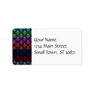 Elegant Rainbow Colorful Damask Fading Colors Address Label