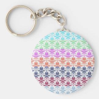 Elegant Rainbow Colorful Damask Fading Colors Basic Round Button Key Ring