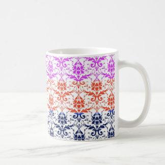 Elegant Rainbow Colorful Damask Fading Colors Basic White Mug