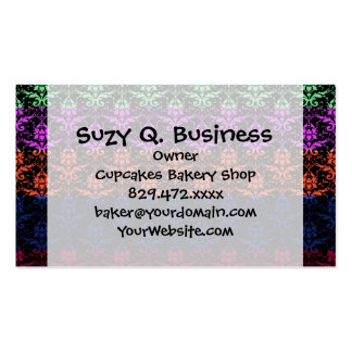Elegant Rainbow Colorful Damask Fading Colors Business Card
