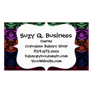 Elegant Rainbow Colorful Damask Fading Colors Business Card Templates