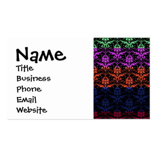 Elegant Rainbow Colorful Damask Fading Colors Double-Sided Standard Business Cards (Pack Of 100)