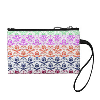 Elegant Rainbow Colorful Damask Fading Colors Coin Wallets