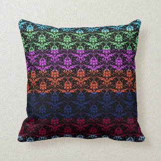 Elegant Rainbow Colorful Damask Fading Colors Pillow