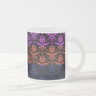 Elegant Rainbow Colorful Damask Fading Colors Frosted Glass Mug
