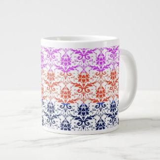 Elegant Rainbow Colorful Damask Fading Colors Jumbo Mug