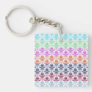 Elegant Rainbow Colorful Damask Fading Colors Square Acrylic Keychains