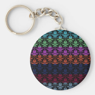 Elegant Rainbow Colorful Damask Fading Colors Key Chains