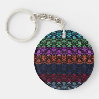 Elegant Rainbow Colorful Damask Fading Colors Acrylic Keychain