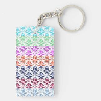 Elegant Rainbow Colorful Damask Fading Colors Rectangle Acrylic Keychains