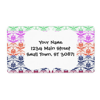 Elegant Rainbow Colorful Damask Fading Colors Shipping Label