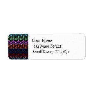 Elegant Rainbow Colorful Damask Fading Colors Return Address Label