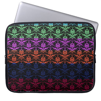 Elegant Rainbow Colorful Damask Fading Colors Laptop Computer Sleeves