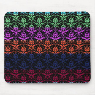 Elegant Rainbow Colorful Damask Fading Colors Mouse Pad
