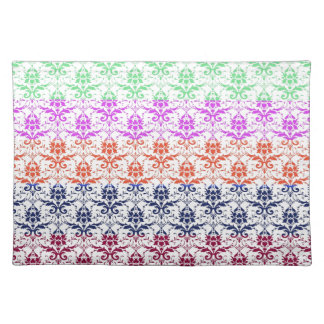 Elegant Rainbow Colorful Damask Fading Colors Place Mat