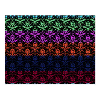 Elegant Rainbow Colorful Damask Fading Colors Postcard