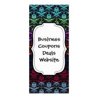 Elegant Rainbow Colorful Damask Fading Colors Rack Card Design