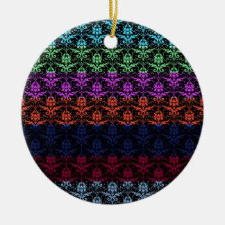Elegant Rainbow Colorful Damask Fading Colors Round Ceramic Decoration