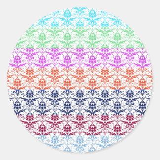 Elegant Rainbow Colorful Damask Fading Colors Round Sticker