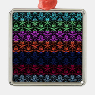 Elegant Rainbow Colorful Damask Fading Colors Silver-Colored Square Decoration