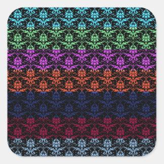 Elegant Rainbow Colorful Damask Fading Colors Square Sticker