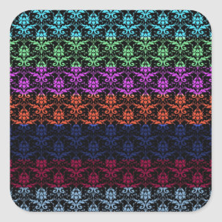 Elegant Rainbow Colorful Damask Fading Colors Square Stickers