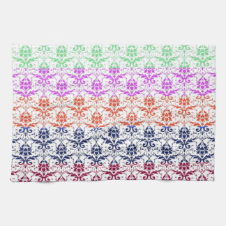 Elegant Rainbow Colorful Damask Fading Colors Hand Towels