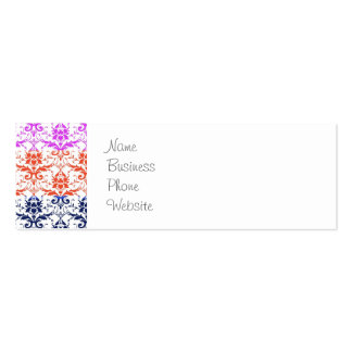 Elegant Rainbow Colourful Damask Fading Colours Pack Of Skinny Business Cards