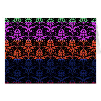 Elegant Rainbow Colourful Damask Fading Colours Note Card