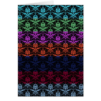 Elegant Rainbow Colourful Damask Fading Colours Greeting Card