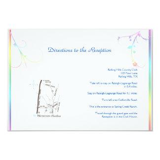 Elegant Rainbow Floral Gay Wedding Directions Card