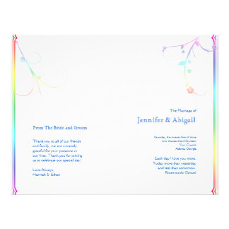 Elegant Rainbow Floral Gay Wedding Program Flyers