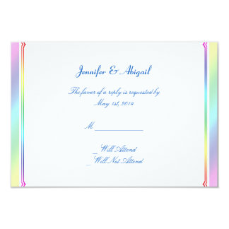 Elegant Rainbow Floral Gay Wedding Response Card