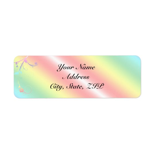 Elegant Rainbow Floral Mrs Return Address Return Address Label