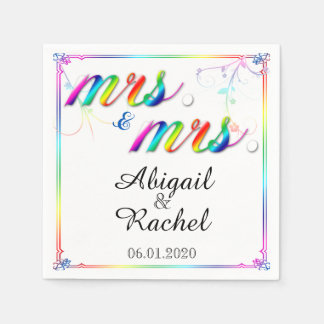 Elegant Rainbow Floral Mrs Wedding Napkin Disposable Napkin