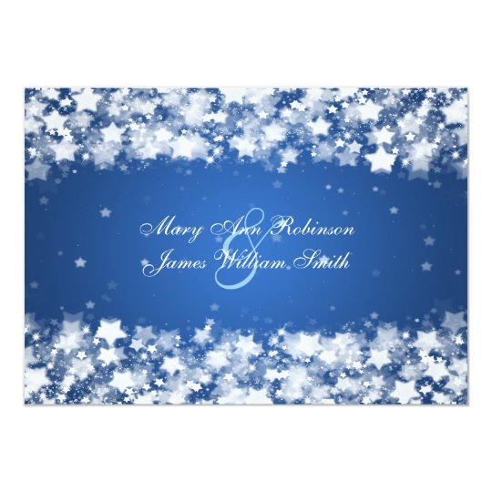 Elegant Reception Star Dazzling Stars Blue Card