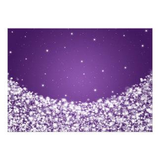 Elegant Reception Star Sparkle Purple Custom Announcement