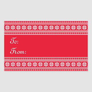 Elegant rectangle to from Christmas tag stickers