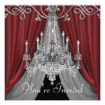 Elegant Red and Black Chandelier Party Invitations