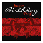 Elegant Red and Black Lace Birthday Party Personalised Invitation