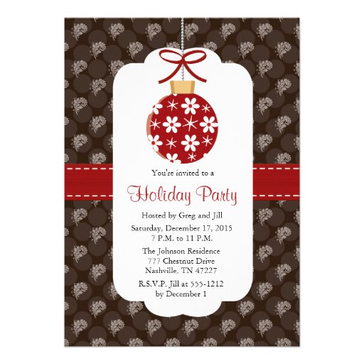 Elegant Red and Brown Holiday Party Invitations