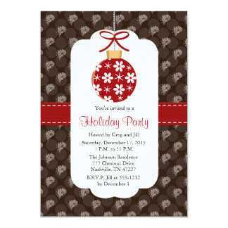"""Elegant Red and Brown Holiday Party Invitations 5"""" X 7"""" Invitation Card"""